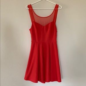 Red BCBG Mesh Mini Dress